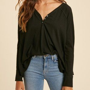 NWT Henley Knit Long Sleeve Top in Black